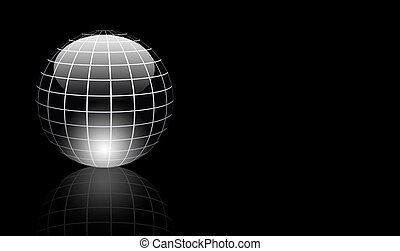 Gray sphere - Dynamic chrome sphere with light effects over...