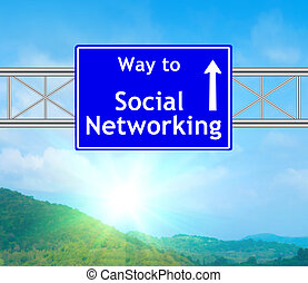 Social Networking Blue Road Sign concept with resplendent...