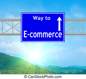 E-commerce Blue Road Sign concept with resplendent clouds...