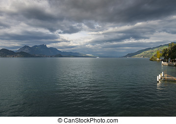 Thunersee with ship