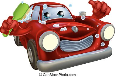 Car valet cartoon - Cartoon car wash mascot man with a happy...