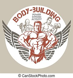 GYM Bodybuilding - vector emblem - Bodybuilding and...