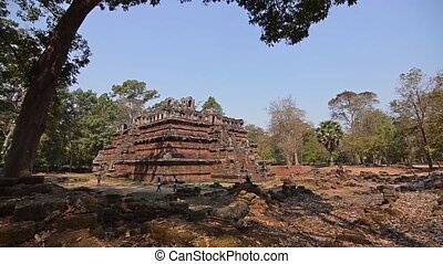 famous temple in cambodia - ancient temple, angkor wat,...