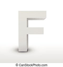 white letter F isolated on white
