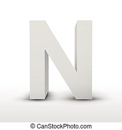 white letter N isolated on white