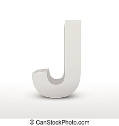 white letter J isolated on white