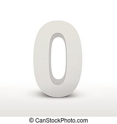 white texture number zero isolated over white background