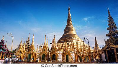Sacred Buddhist place Shwedagon Pagoda Yangon, Myanmar Burma...