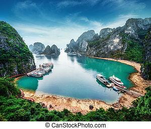 Tourist junks at Ha Long Bay, Vietnam - Tourist junks...