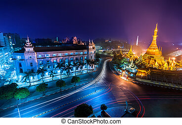 Night view of Sule pagoda. Yangon, Myanmar (Burma) - Night...