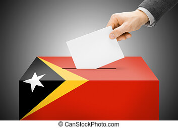 Voting concept - Ballot box painted into national flag...