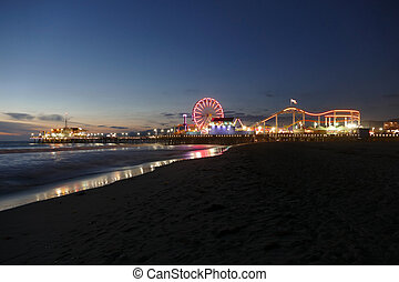 Santa Monica Beach and Pier Night - Santa Monica beach and...