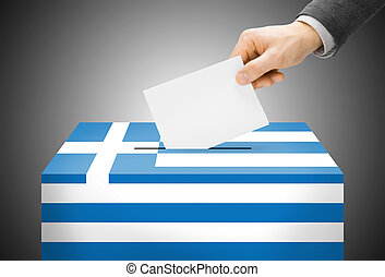 Voting concept - Ballot box painted into national flag colors - Greece
