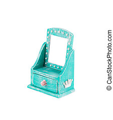 Blue console mirror handmade. Isolated on a white...