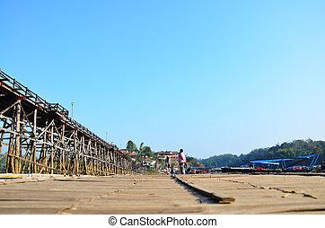 Antique bamboo bridge - People go to travel Antique bamboo...