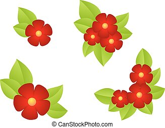 Red flowers isolated on white background. vector...
