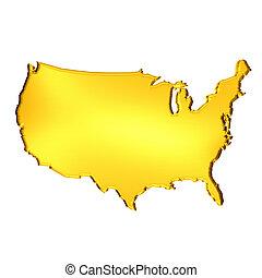 Golden USA Map