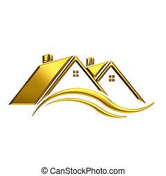 Golden houses real estate image.