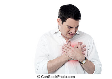 Young man having heart attack - Man suffering from chest...