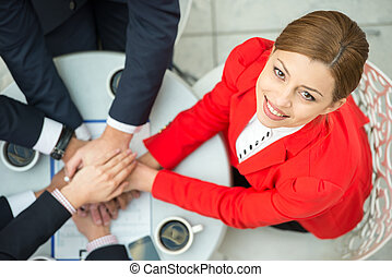 Business - Top view of young woman at business meeting,...