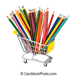 colored pencils in shopping cart