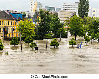 flood 2013 linz, austria. inundation and flooding.