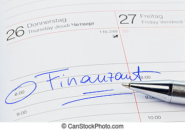 entry in the calendar: tax office - an appointment is...