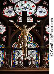 Paris, Notre Dame Cathedral. - Stained glass windows inside...