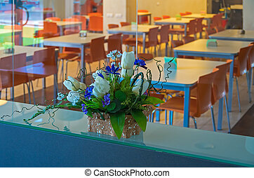 Canteen for workers - Place for meals staff decorated...