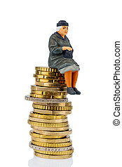 pensioner sitting on a pile of money, symbolic photo for...