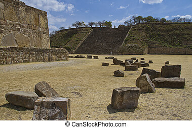 The pyramid and the ruins of Monte Alban, Oaxaca, Mexico