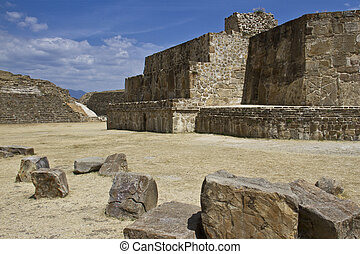 The pyramids and the ruins of Monte Alban, Oaxaca, Mexico