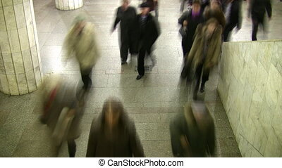 Motion blur walking crowd. Subway. Time lapse.