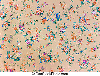 old retro floral wallpaper, background, backgroun - an old...
