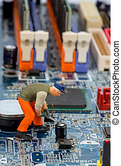 computer board and construction workers - computer board and...
