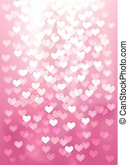 Pink festive lights in heart shape, vector background.