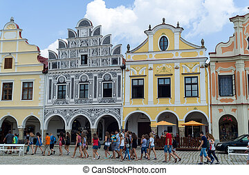 czech republic telc, town square - the historic town square...