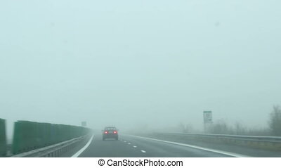 Fog on Highway - Deep fog along the highway while running at...