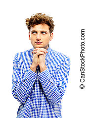 Portrait of a pensive man looking away over white background