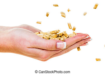 hand with pellets as old natie energy - alternative energy...