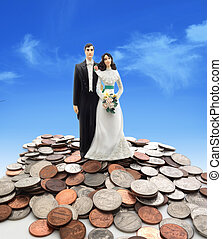wedding couple - Plastic wedding couple on coins - money...