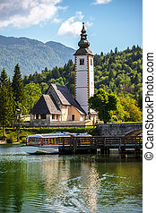 Church of St John the Baptist, Bohinj Lake, Slovenia - The...