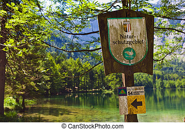 sign nature reserve, austria - sign nature reserve,...