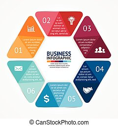 Hexagon infographic, diagram, steps, 6 options - Layout for...