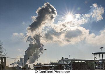 industrial, chimenea, con, escape, gases,