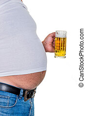 man with overweight symbolic photo for beer belly,...
