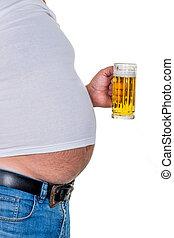 uomo, con, sovrappeso,