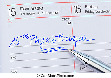 entry in the calendar: physiotherapy - an appointment is...