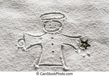 angel in the snow - an angel was drawn in winter at...