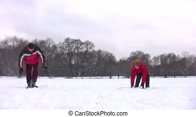 couple playing snowball - Couple playing snowball